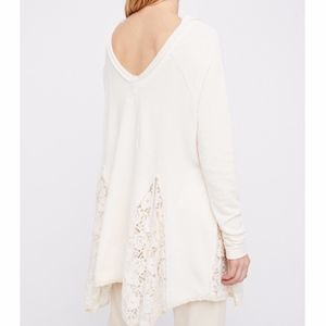 Free People No Frills Lace Inset Pullover Top New